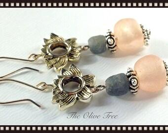 Lotus & African Recycled Glass Beads Bohemian Dangle Earrings - Boho Earrings - Zen Earrings - Hippie Earrings - Gypsy Earrings - Meditation