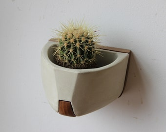Concrete/Wood Wall Mounted Planter: The Bouke