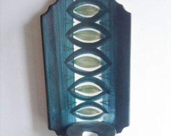 SALE Danish Vintage Knabstrub Blue Candle Holder Wall Candle Holder