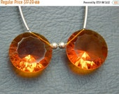 20%off. Matched Pair - Sparkling AAA Orange Quartz  Cone Cave Cut Faceted  Briolettes-Top Quality
