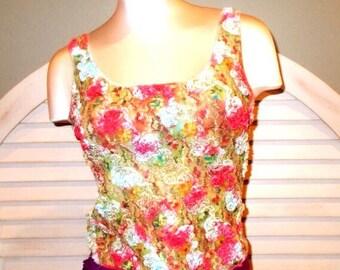 Vintage Hippie Half Floral Half Tie Dye stretch tank