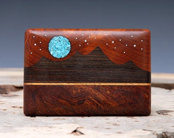 Exotic Wood & Turquoise Inlaid Belt Buckle - Handmade - Mountain Landscape
