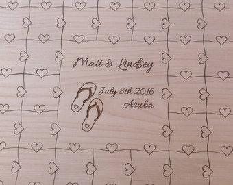 CUSTOM 70 piece Wedding Guest Book Puzzle with Heart Tabs
