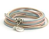 ROSE QUARTZ SERENITY Lotus Charm Bracelet, Blue Rose Cream BohoBracelet, Yoga Bohemian Jewelry, Pastel Colors Women Bracelet, gift for her