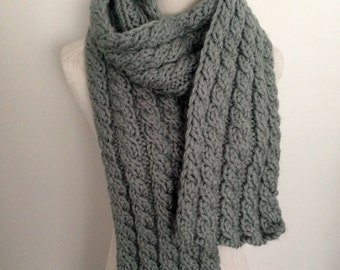 Keep Toasty Warm This Winter in this Hand knitted Cable Scarf-Hand knitted-Made in New Zealand-Denim-Glacial Sage Green-Light Grey