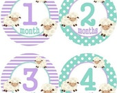 ON SALE Baby Monthly Milestone Growth Stickers Lavender Aqua Lamb Nursery Theme MS535 Baby Boy Girl Shower Gift Baby Photo Prop