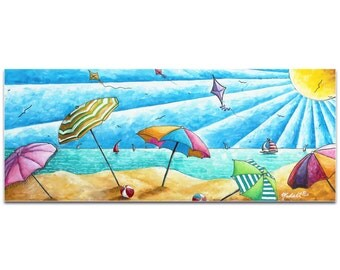 Beach Painting 'Beach Life v2' by Megan Duncanson - Tropical Wall Art Coastal Bathroom Decor on Metal or Acrylic