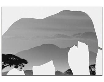 Elephant Savanna   Contemporary Metal Animal Silhouette Art, Wildlife Artwork on White, Minimalist African Landscape, Modern Wall Decor