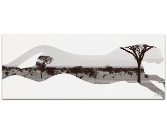 Cheetah Savanna   Contemporary Metal Animal Silhouette Art, Wildlife Artwork on White, Minimalist African Landscape, Modern Wall Decor