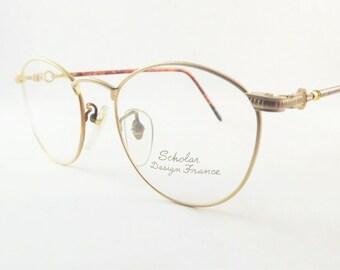 Gold Steampunk Eyeglasses, Womens Oval Eyeglass Frames, Gold Matt Metal Vintage Eyewear, New Old Stock