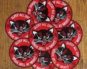 Raise Hell Embroidered Patch - Sleep All Day Raise Hell at Night Round Patch