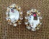 Our Joan Earrings Flower Crystal Oval Studs