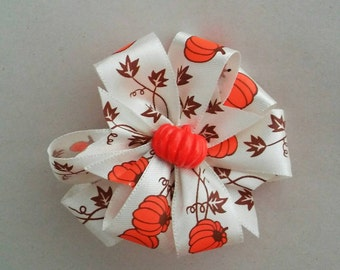 Pumpkin and Vines White Fall and Halloween  Bow
