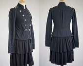 Women's clothing repurposed black jersey double breasted military coat M-L