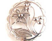 Floral Cameo Brooch Silver Plate or Silver Cannetille Wire Work Victorian Revival Style Beauty