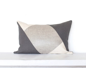 "Metallic Linen  ""Opposite Angles"" Modern Colorblocked Pillow Cover -- Silver Metallic / Dk. Grey Combo"
