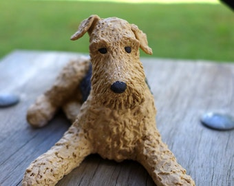 Custom Sculpture Airedale Custom Pet Portait, a custom Airedale or Welsh Terrier Ceramic Sculpture, your choice of pose, by MudPups