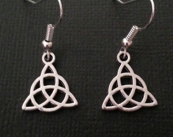 Silver Celtic Triquetra Symbol Earrings
