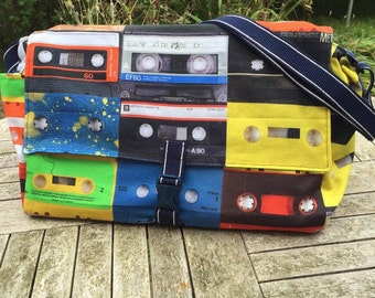Diaper bag, baby changing bag, cassette tape messenger bag, 1980's cassette tapes, messenger bag, cassette tape messenger bag