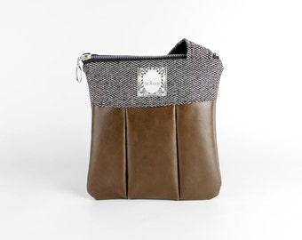 "Leather Crossbody Bag, Chocolate Brown and Tweed, Birdbags ""Winter Wren"" Small Handbag"