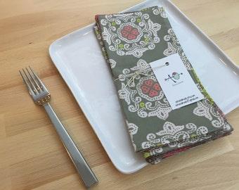 set of 4  reversible cotton napkins, stamps, gray, coral, modern, kitchen gift, housewarming, hostess gift