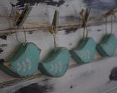 Handmade Rustic Vintage Look Holiday Wood Bird Ornaments, Set of 4
