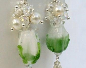 Bridal White Earrings, Lampwork Glass Earrings with Sterling Silver Earwires, Rosebuds Earrings, Beaded Earrings, Ready to Ship