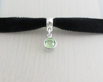 Birthstone Crystal Black Velvet Ribbon Choker Necklace, 9mm Black Velvet Choker, Swarovski Crystal Charm, Personalised Crystal Choker