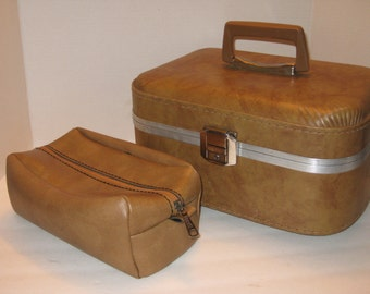 Vintage Train Case With Matching Toiletries Bag, Small Suitcase, Travel Case, Luggage, Scovill