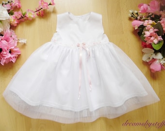 Short white christening gown with tulle, pure cotton dress, Tulle 100% polyamide, varioussizes