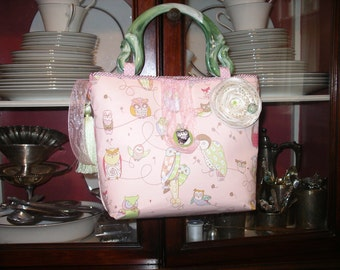 Green and Pink Owls Handbag/Alexander Henry fabric
