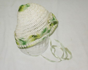 Vintage Handmade Crocheted Baby Bonnet Hat Cream Green and Yellow