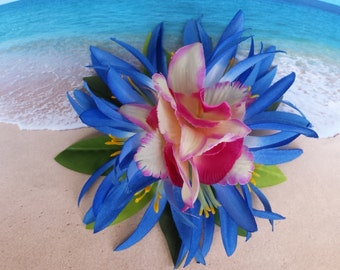 Tropical silk flower hawaiian hair clip (35)
