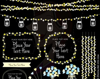 String Lights Wedding Mason Jars Glowing Fairy Lights Clipart Digital Frames COMMERCIAL USE Bridal Shower Clip Art Banner Vector Png 10709