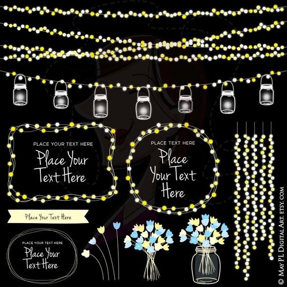 String Lights Wedding Mason Jars Glowing Fairy Lights Clipart