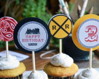 TRAIN Cupcake Toppers All Aboard Choo Train Birthday Party Favors