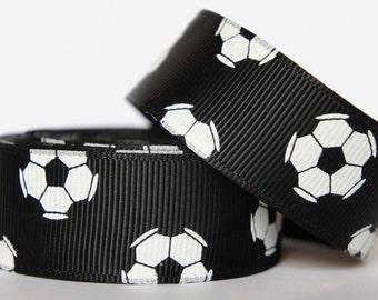 "10Yd Soccer Pattern 7/8"" Black Grosgrain Ribbon"