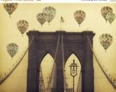 "Memorial Day Sale Brooklyn Bridge - 8x10 photograph - ""Balloons over the Bridge"" - fine art print - vintage photography - Hot Air Balloons -"