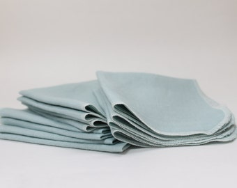 Triple Set Linen Napkin Set of 12 in SOFT BLUE eco friendly handmade cloth napkins made to order SALE on 12