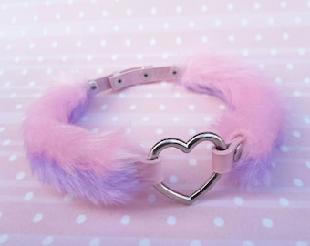 Cute BDSM Collar, DDLG Collar Choker, Fur Heart Choker, Furry Kawaii Chocker Necklace, Pastel Goth,  Daddy Choker Dabby Dom Pink Choker