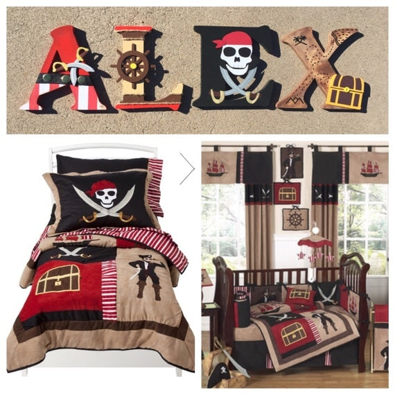 Boys Pirate Bedroom: Pirate Wooden Letters Pirate Letters Custom Letters Pirate