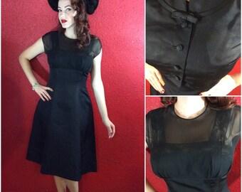 1950s Illusion Neckline Black Dress and Bolero LBD Medium