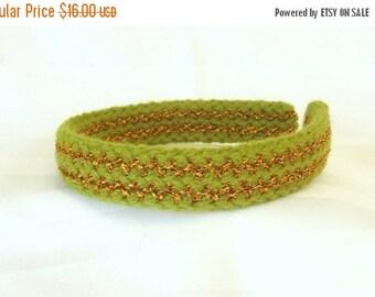 SALE, Green Knit Headband - Vintage Style Hair Accessory - Retro Style Headband - Hair Accessory for Her