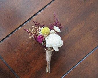 Boutonniere, Sola Wood Boutonniere, Rustic Bohemian Boutonniere,  Dried flowers, White Boutonniere, Sola Bouquets