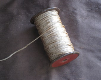 Antique Wooden Spool of Silky Twine/String  - Golden Tan - Vintage Crochet, Gift Wrapping, Crafting Supplies - Home Decor, Country