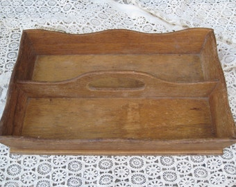 Antique Wooden Cutlery Tray, Tote - Divided Silverware Box - Dovetailed Corners -  Vintage Home Decor, Display, Storage Box , Organizer