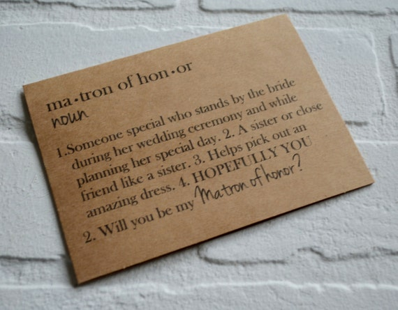 DEFINITION Cards Will You Be My MATRON Of HONOR Dictionary