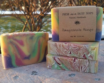 Pomegranate Mango Cold Process soap, Natural Handmade Soap, Vegan