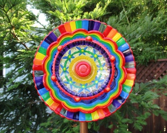Cheerful Outdoor Decorations with repurposed glass hand painted in a Rainbow of color, glass plate flower garden art and garden gift