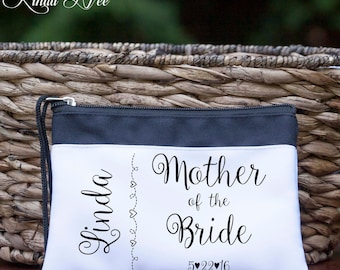 Personalized Mother of the Bride Cosmetic Wedding Bag, Bridal Party Bag,Bride Makeup Bag, Mother of the Bride Gift Bag, Toiletry Bag CBP1